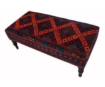 Arshs Dorla Dark Red/Black Handmade Kilim Upholstered Settee