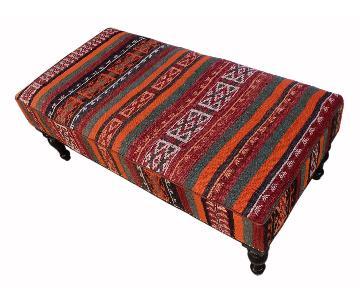 Arshs Dorotha Orange/Gray Handmade Kilim Upholstered Settee