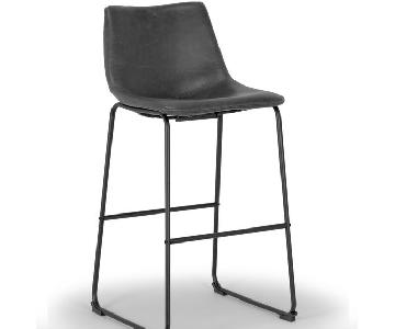 Glamour Home Iron Frame Vintage Gray Faux Leather Bar Stools