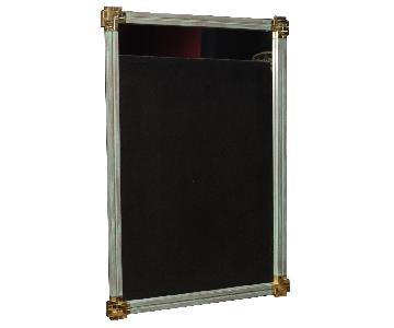 Spanish Mirror In Painted Wood & Gilt Metal