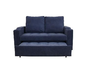 Blue 2 in 1 Pull Out Sofa Bed