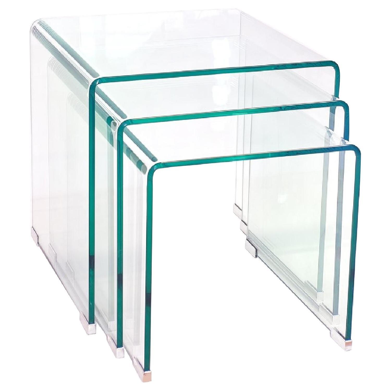 Modern bent glass nesting tables aptdeco modern bent glass nesting tables watchthetrailerfo