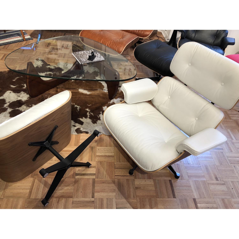 White Italian Leather Eames Lounge Chair Replica & Ottoman
