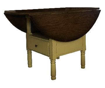 Crate & Barrel Yellow Drop-Leaf Breakfast Table