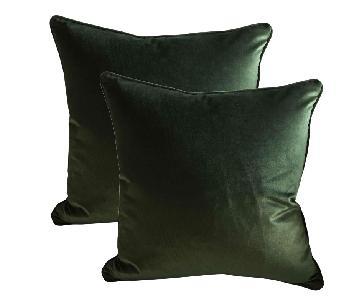Belgian Green Silk Velvet Accent Pillows