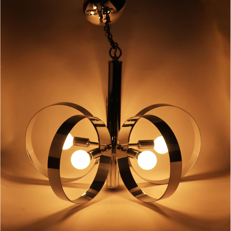 1960s Mid-Century Modern Chrome Hoop Pendant Lamp