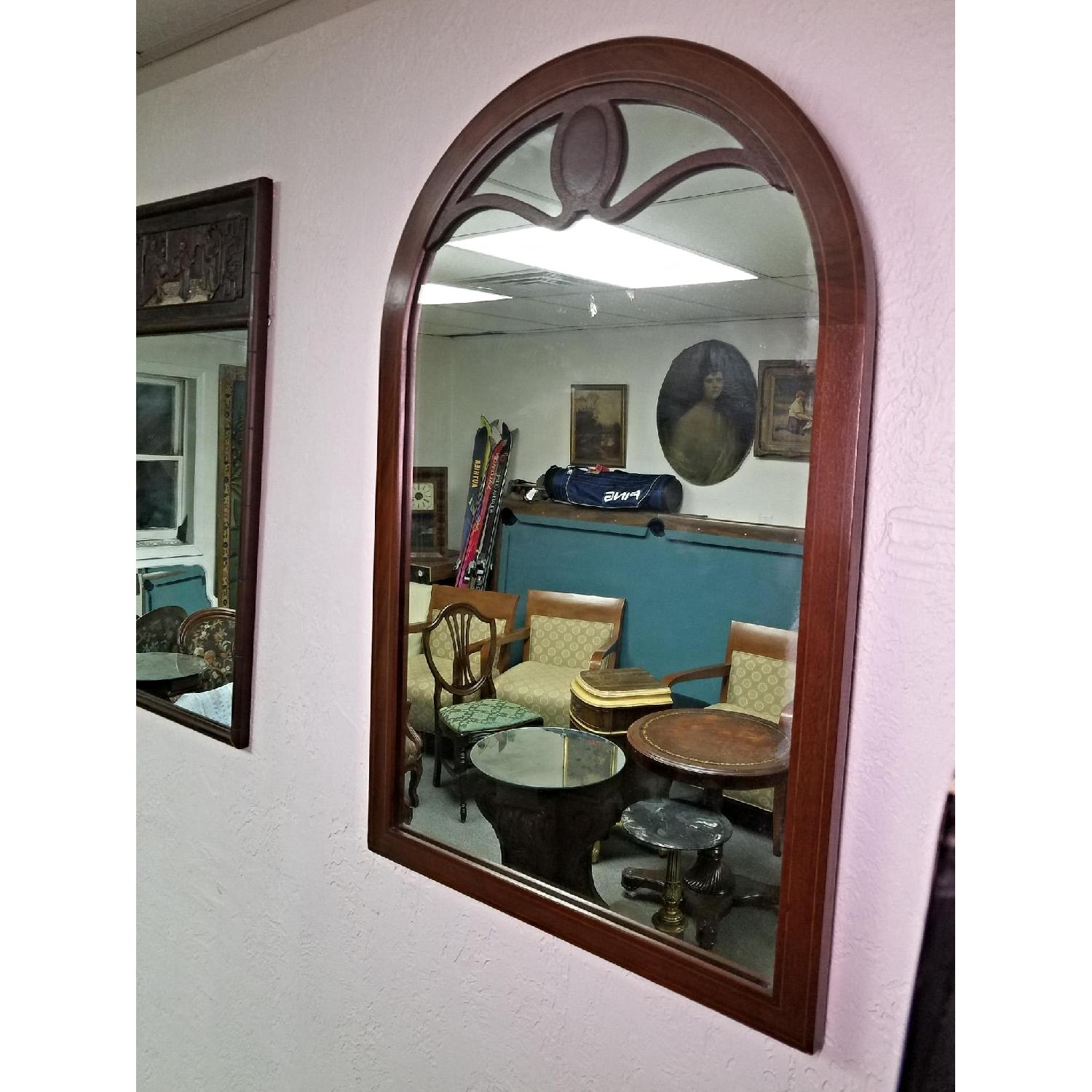 Antique Line Inlaid Arched Neoclassical Mahogany Wall Mirror
