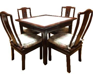 Chinese Wood Carved Mah Jong Game Poker Table w/ 4 Chairs