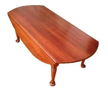 Vintage Oval Drop Leaf Wood Coffee Table