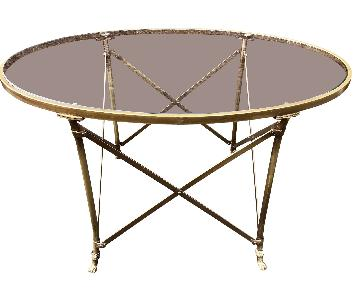 Directoire Style Brass & Glass Coffee Table