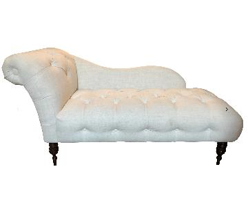 Antique Inspired Linen Upholstered Chaise Lounge