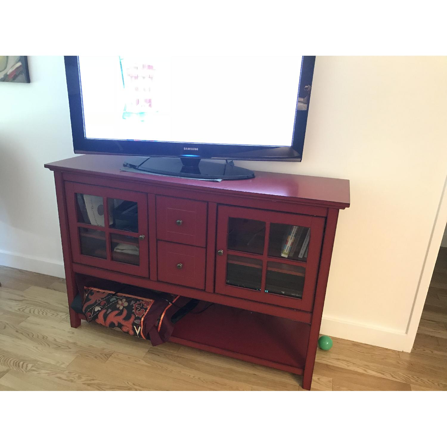 Pier Antique Red TV Stand Buffet AptDeco - Pier 1 tv console table