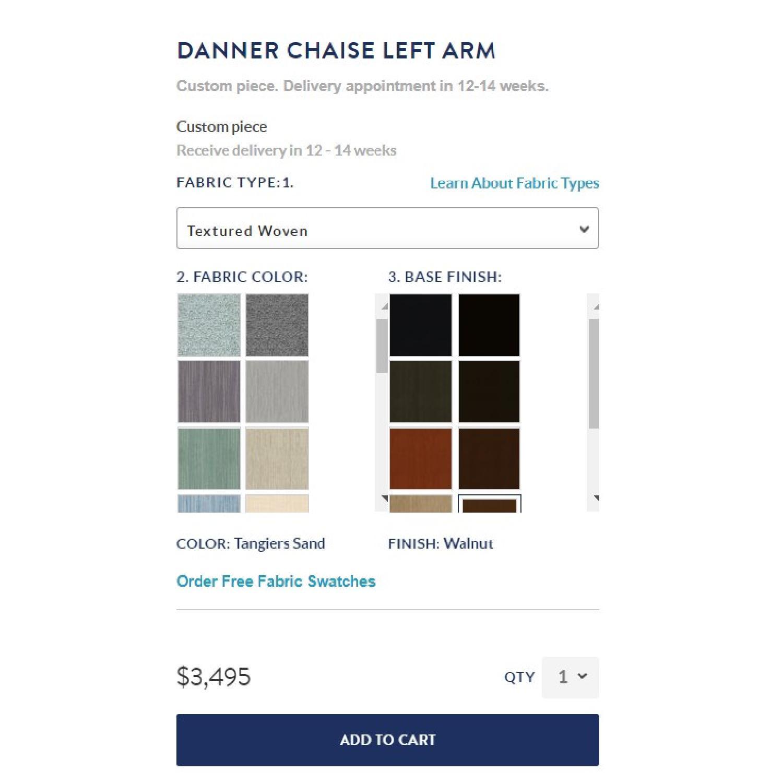 Jonathan Adler Danner Left Arm Chaise in Tangiers Sand