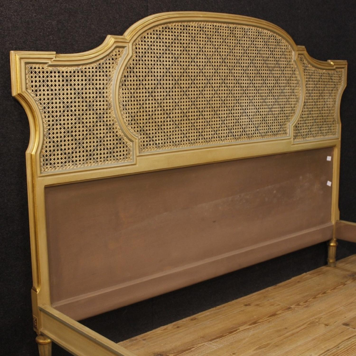 Louis XVI Style Italian Double Bed In Lacquered Gilt Wood