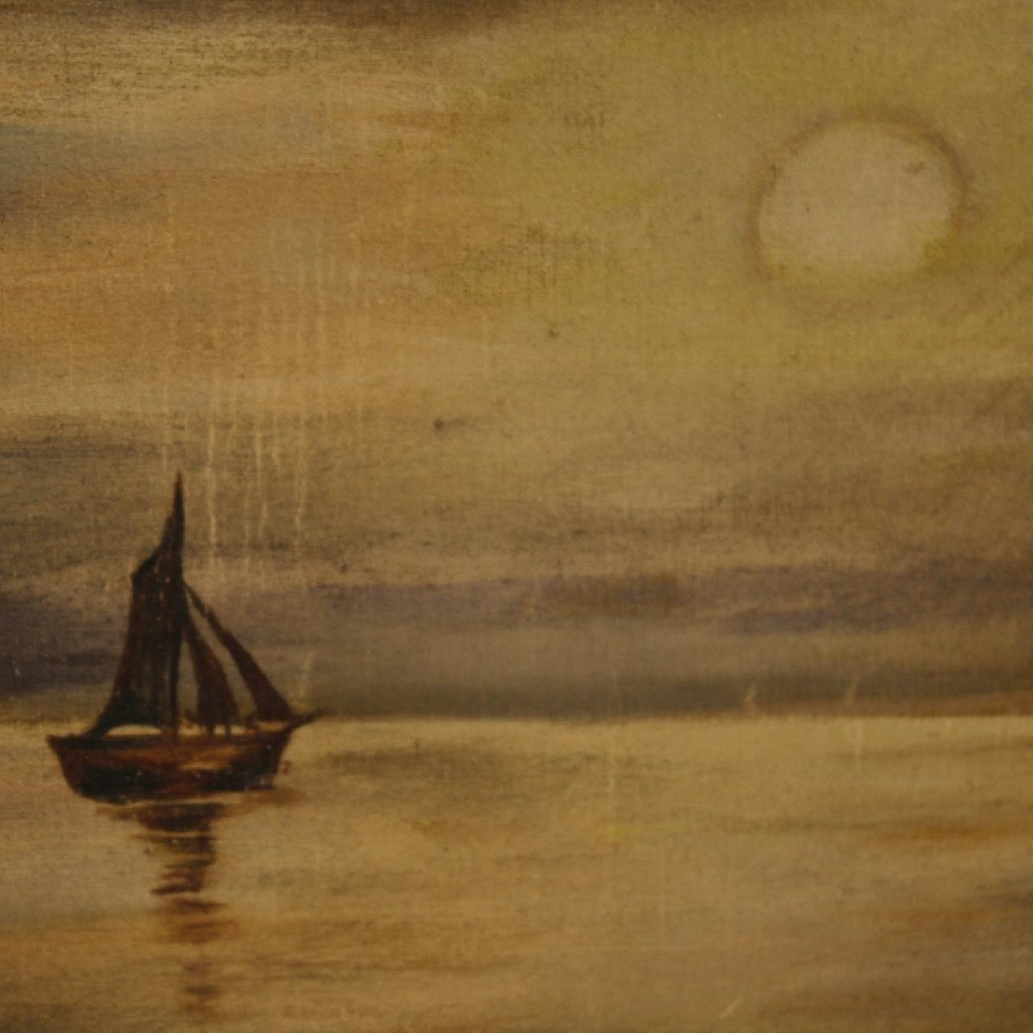 Italian Signed Painting Nocturnal Seascape Mixed Media