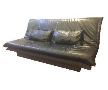 Black Leather Sleeper Futon w/ Built-In Storage
