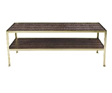 Bernhardt Brass Hornback Crocodile Embossed Coffee Table