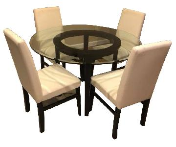 Crate & Barrel Wood & Glass Dining Table w/ 4 Chairs