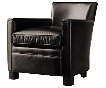 Restoration Hardware Brown Leather Armchairs