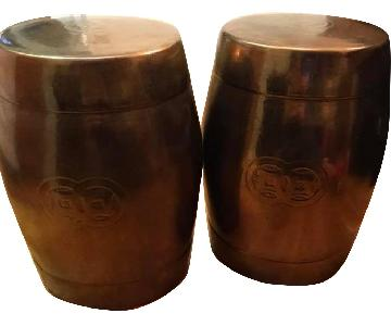 West Elm Bronze Cylinder Side Tables