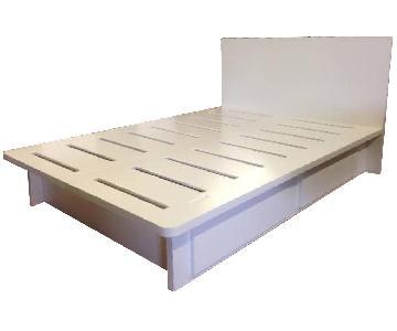 Wonk Furniture White Oak Platform Queen Bed w/ Drawers