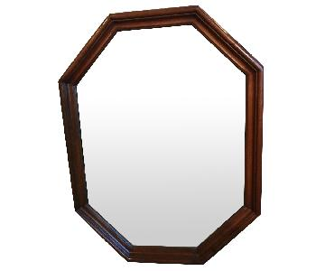 Vintage Wooden Framed Beveled Wall Mirror
