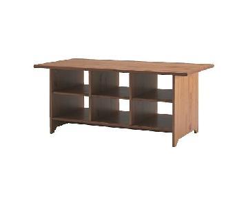 Ikea Leksvik Wood Coffee Table w/ Shelving