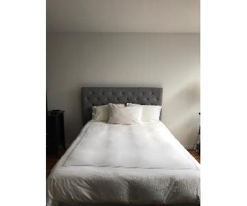 Grey Upholstered Platform Bed Frame w/ Tufted Headboard
