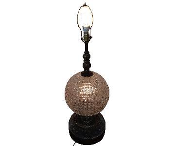 Mid Century Modern Brass Table Lamp w/ Crystal Globe