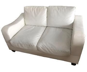 Off White Leather Loveseat