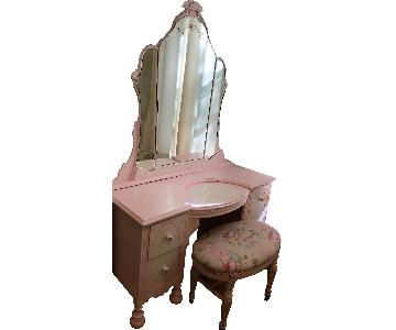 Vintage Pink Vanity Table w/ Mirror & Bench