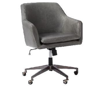 West Elm Helvetica Rolling Swivel Office Chair in Grey