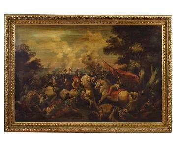 20th Century Italian Battle Painting Oil On Canvas