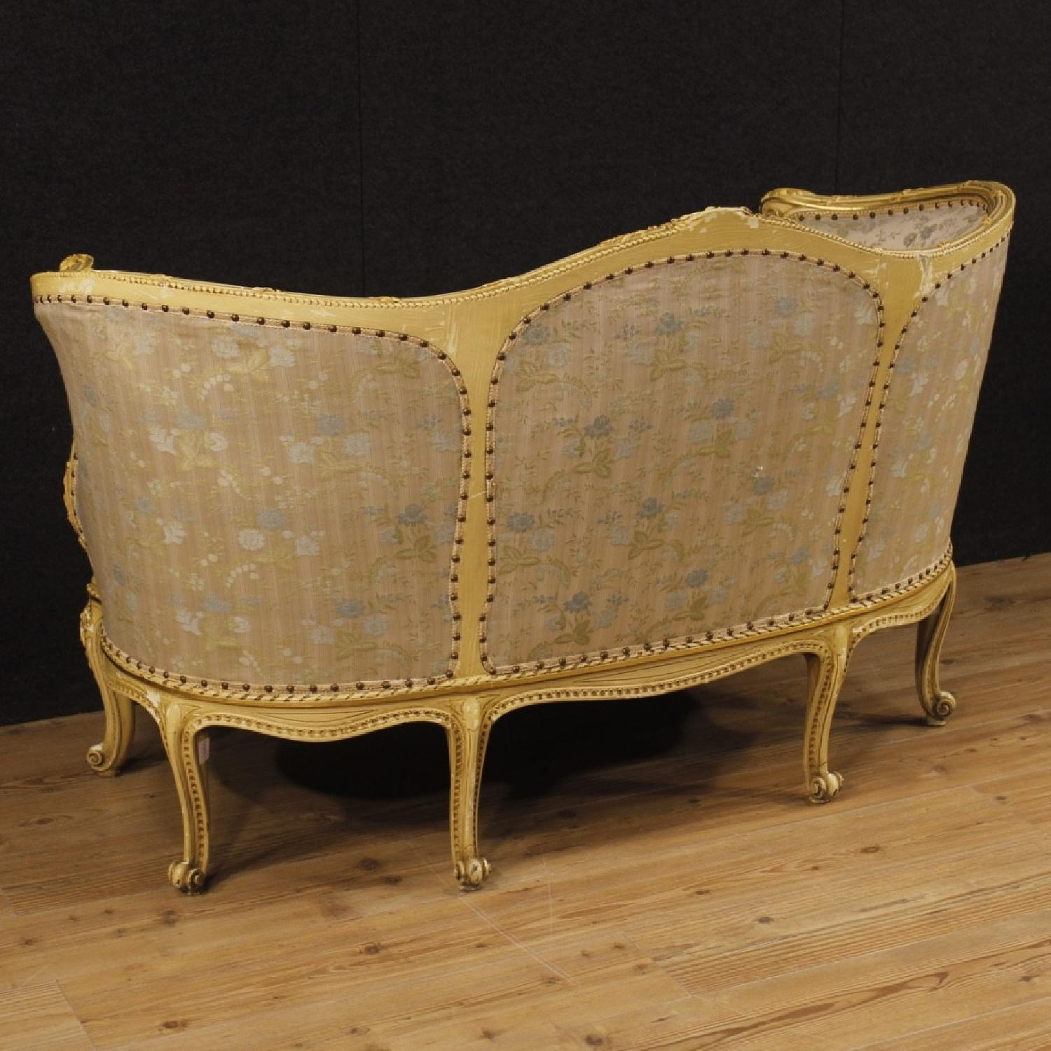 Italian Corbeille Sofa In Lacquered Wood w/ Floral Fabric