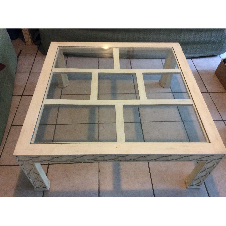 White Rustic Square Coffee Table AptDeco - White rustic square coffee table