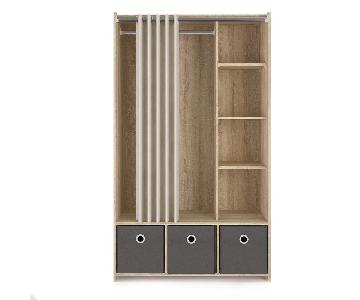 Ebern Designs Loke 3 Bin Curtain Storage Center/Armoire