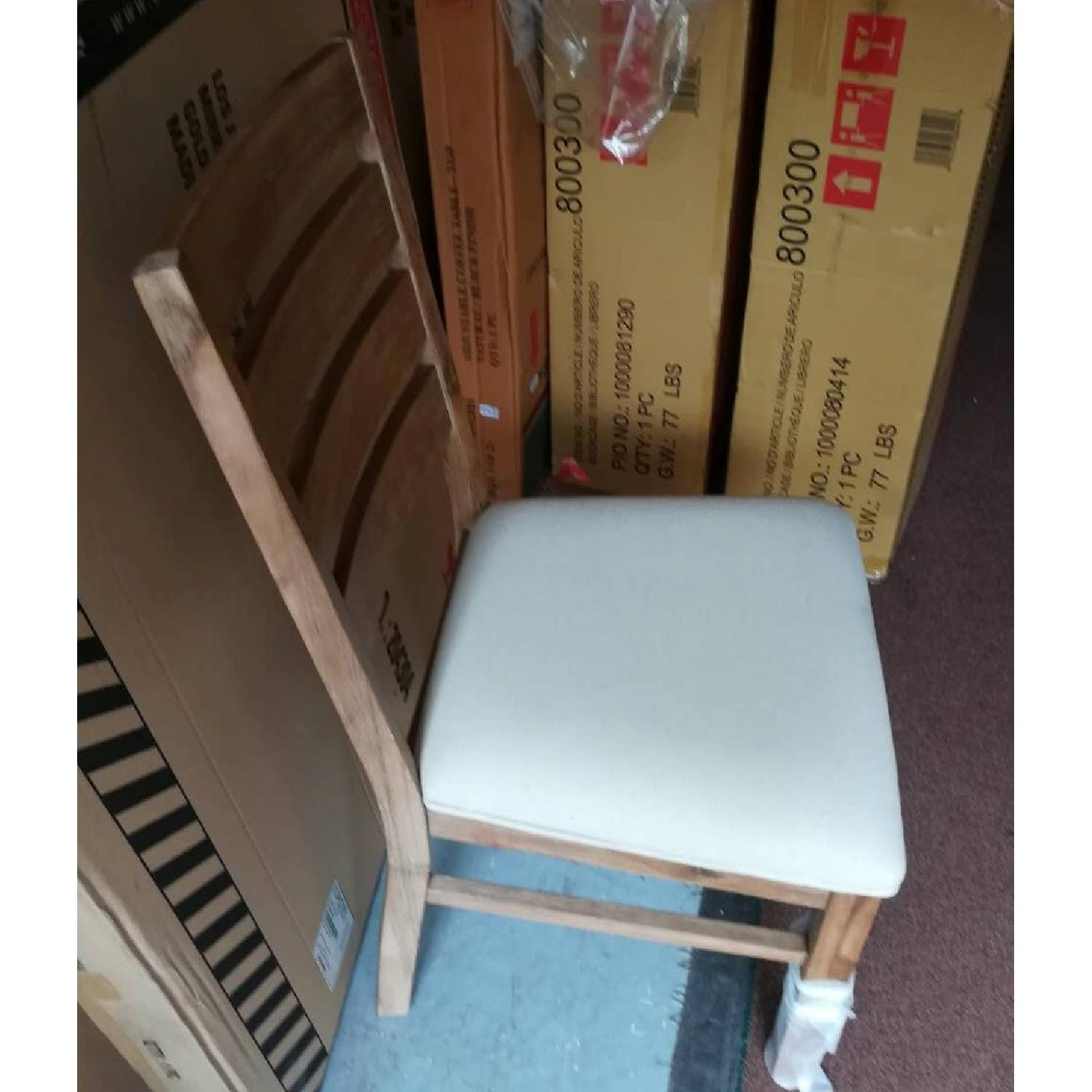 Rustic High Back Chair in Solid Wood Frame & Cushioned Seat