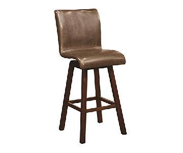 Swivel Barstool in Brown Leatherette & Cushion Seat & Back