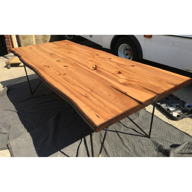 Modern Dining Table w/ Organic Live-Edge & Gunmetal Legs