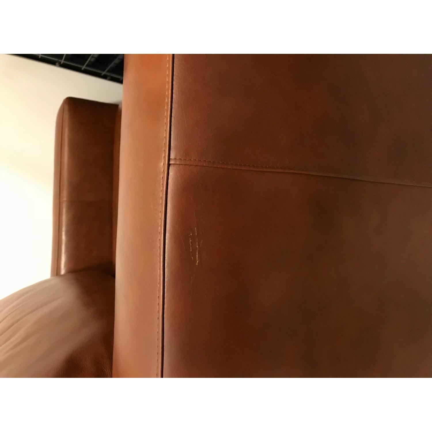 Crate & Barrel Axis Leather Chair & Ottoman
