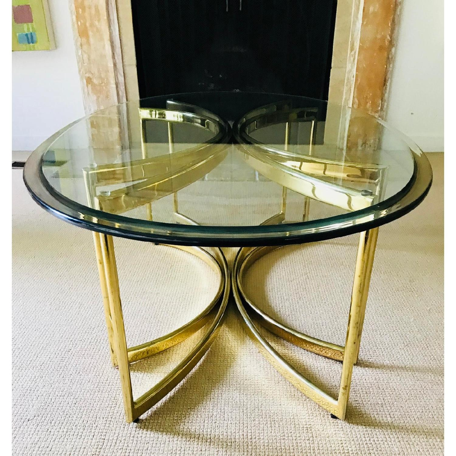 Vintage Brass & Glass Hollywood Regency Coffee Table