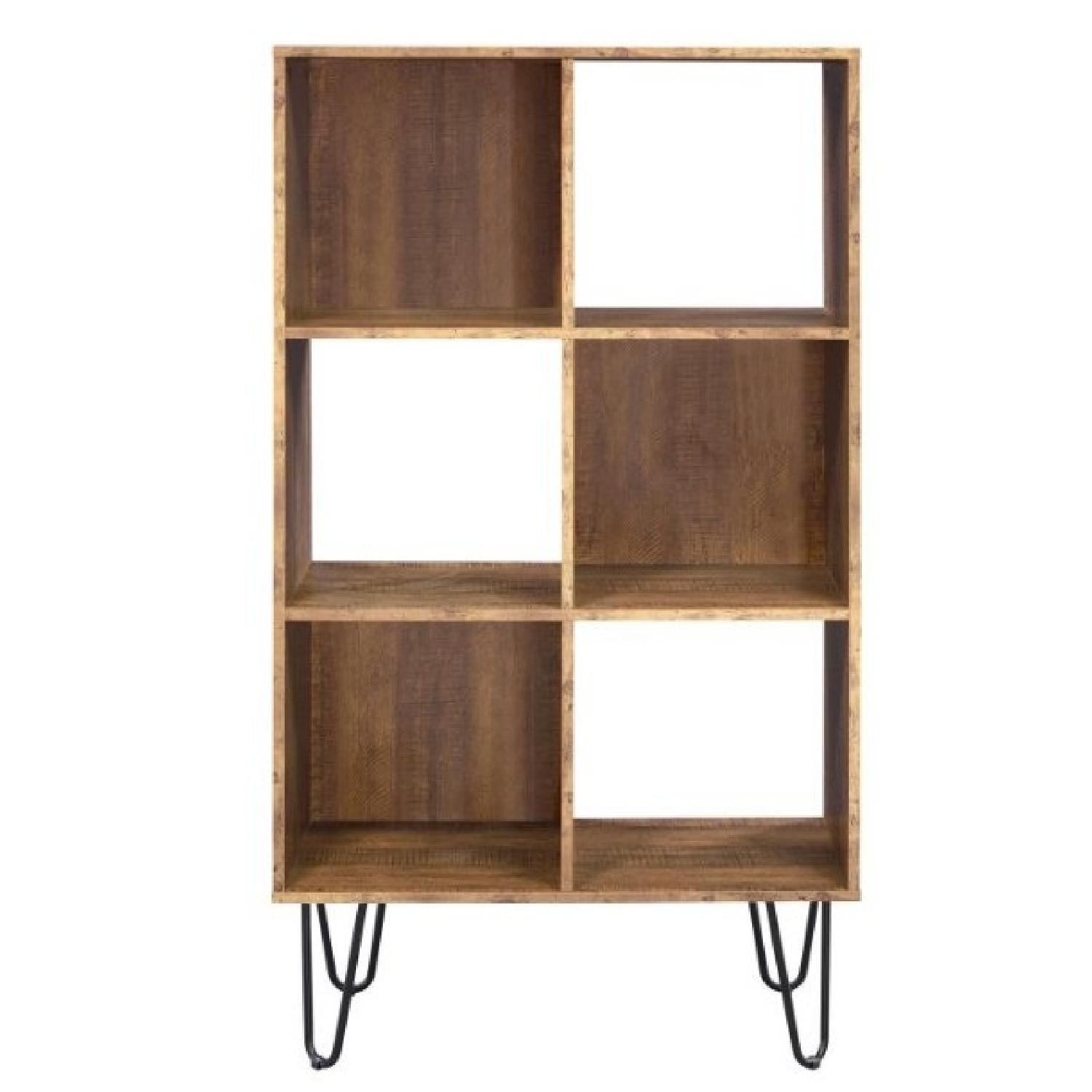 Bookcase in Rustic Amber w/ Finish & Hairpin Legs
