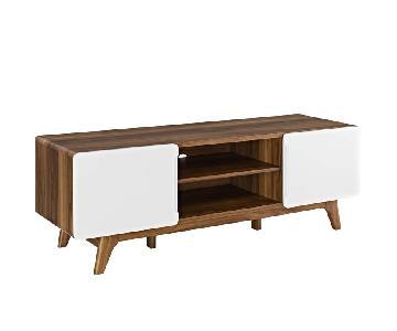 Manhattan Home Design Mid Century Walnut TV Stand