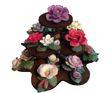 Capodimante Vintage Mahogany 3 Tier Tray w/ Flowers