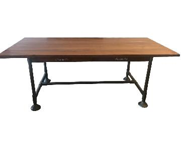 CB2 Acacia Wood Dining Table w/ Solid Metal Legs