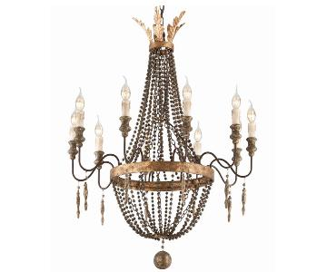 Antique French Style Iron & Gilt Wood 10 Light Chandelier