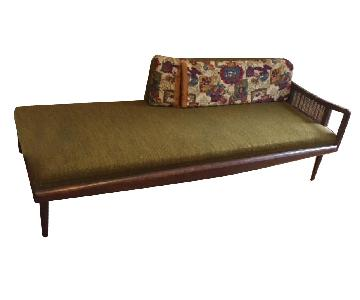 Mid Century Cane Arm Upholstered Lounge Daybed