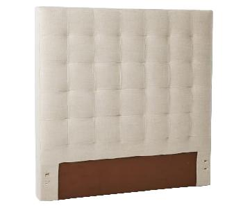 West Elm Grid-Tufted King Headboard in Pebble Weave Oatmeal