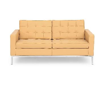 Kardiel Knoll-Style Leather Loveseat