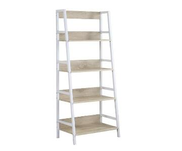 Ladder Bookcase w/ Natural Shelves & White Frame
